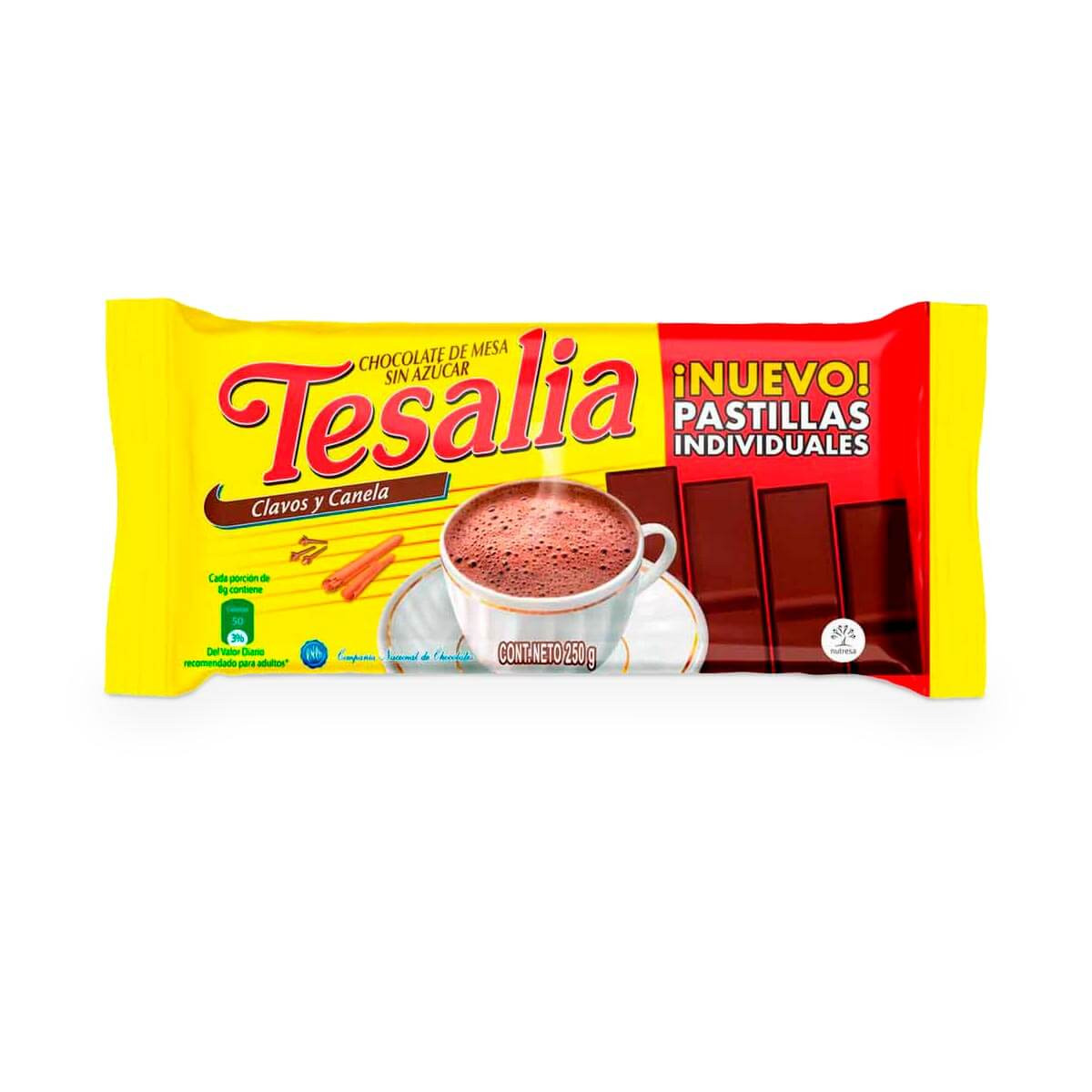 CHOCOLATE TESALIA 250G 32U PASTILLAS